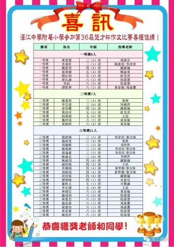 未命名第36屆武漢國際楚才杯作文比賽濠小獲佳績